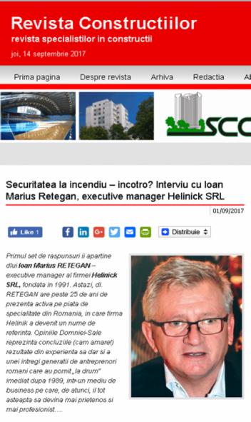 Securitatea la incendiu – incotro? Interviu cu Ioan Marius Retegan, executive manager Helinick SRL